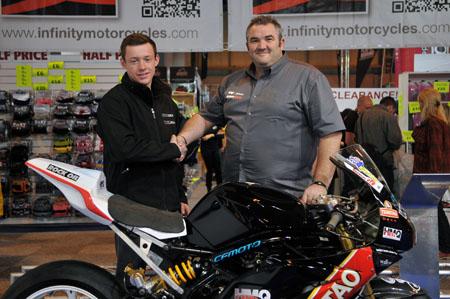 Kyle Wilks with Tsingtao Racing Kawasaki team owner Dave Tyson. Image by Jon Jessop Photograpy