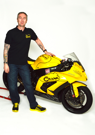 Team Principal Mark Grimes with the Crank Racing Kawasaki